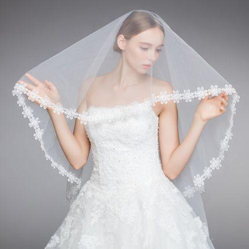 White Tulle Lace Floral Bridal Wedding Mantilla Head Veils SKU-11202008