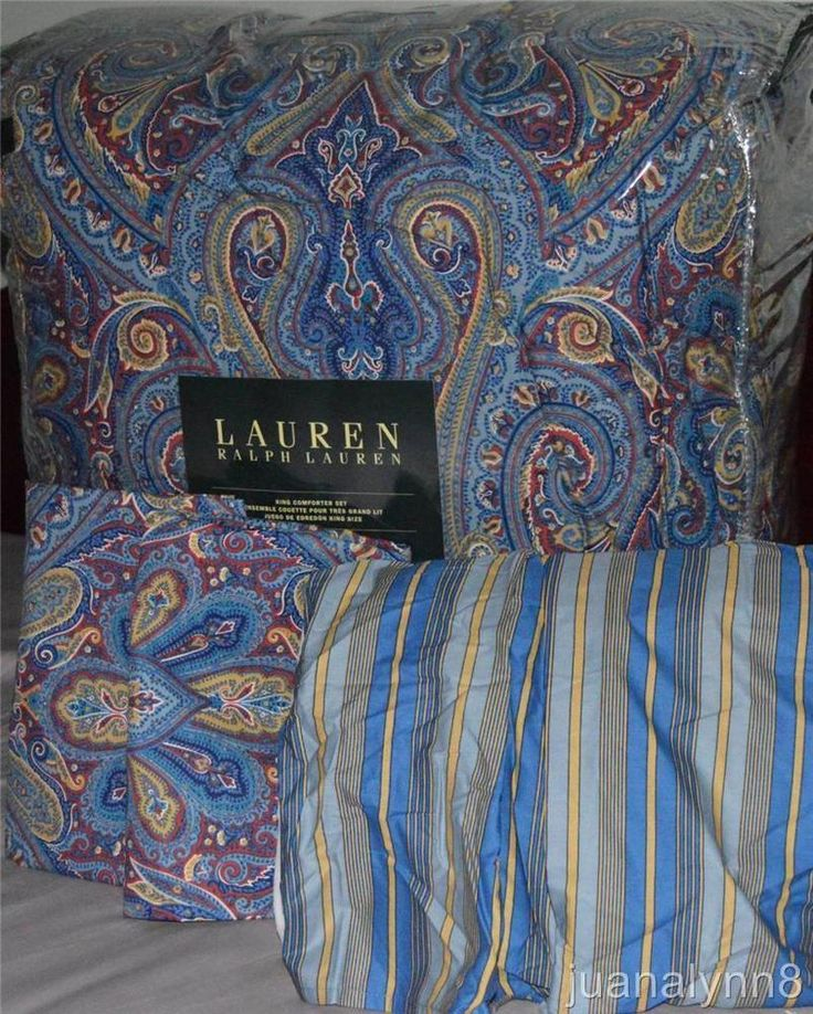 Ralph Lauren Fenton Blue Paisley Queen Comforter Set New