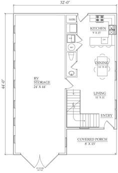The Homestead kit: RV Garage plus 2 story, 1 bedroom, 1.5 Bath apartment