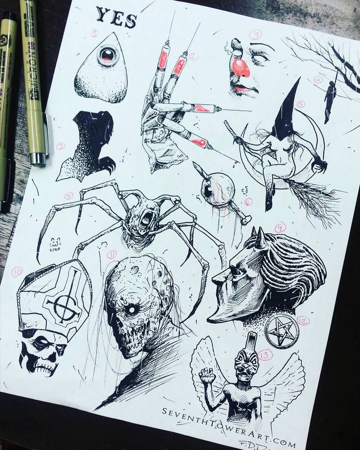 $31 (+tip) Tattoo Flash Halloween Sale Thing! OCT 23 - OCT 31!!! DM to book your appointment now! Ill be doing another sheet next week as well that will be included in the sale. Here are the names of each design od this sheet: 1) Ouiji Planchette 2) Lets Get High 3) Pennywise 4) Hanging Man 5) Witch 6) Nailed It 7) Nosferatu 8) Thing Crabhead 9) Nameless Ghoul 10) Papa 11) Zambo 12) Pentagram 13) Pazuzu - buy one if my prints below: SeventhTower.BigCartel.Com - #doodle #sketch #giveaway...