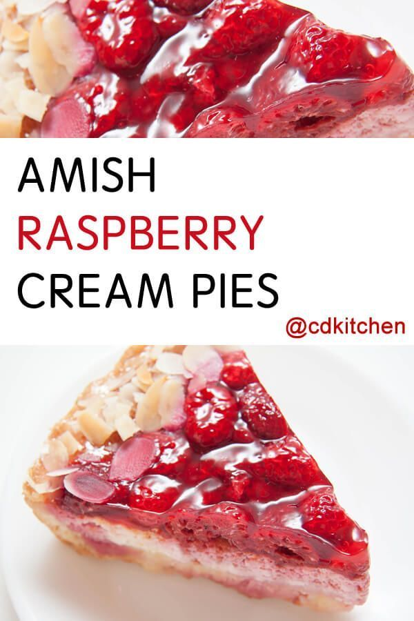 Amish Raspberry Cream Pies - A double layer pie made with a creamy vanilla filling and a fresh raspberry gelatin layer on top.|  CDKitchen.com