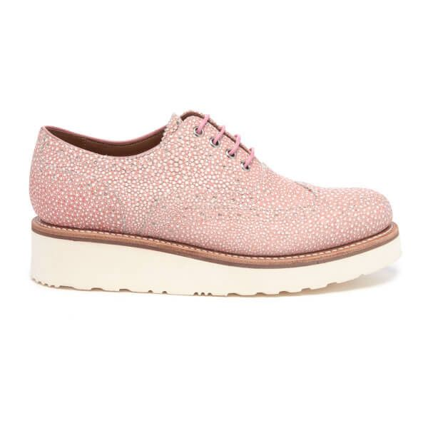 Grenson Women's Emily Stingray Leather Brogues - Pink (8,310 DOP) ❤ liked on Polyvore featuring shoes, oxfords, pink, wedge shoes, leather flats, flat shoes, flat pumps and balmoral oxfords