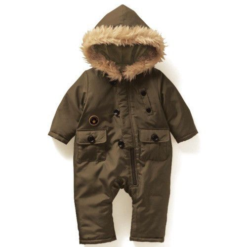 Winter Baby Boys Snow Suit Romper W FUR Hooded Army Green 0 6 12 18 | eBay
