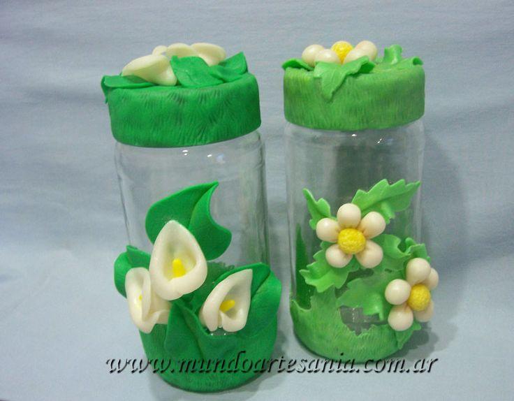 Frascos decorados con porcelana fria de minnie buscar - Frascos de vidrio decorados ...