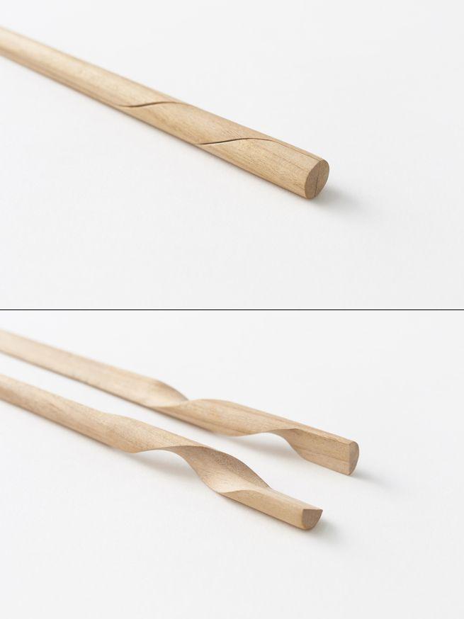 Palillos orientales (el espacio ya no será un problema!)  // Rassen chopstick. Nendo. Reinvents the Chopstick by turning two into one
