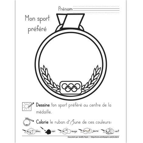 Fichier PDF téléchargeable Langue: français En noir et blanc Taille d'une page: 8,5 X 11 po. 1 page Pour le préscolaire, les enfants dessinent leur sport préféré au centre de la médaille et colorie le ruban d'une des couleurs des Olympiques.