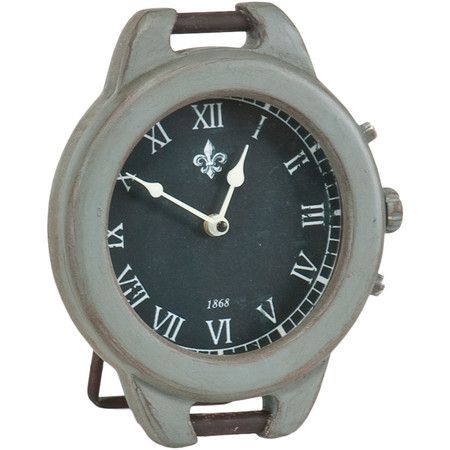 Craft a charming vignette in your living room or dining room with this handsome clock, showcasing a weathered finish, fleur-de-lis accent, and Roman numeral ...
