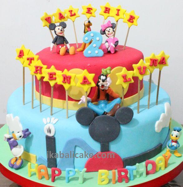 Mickey, Minie, Goofey, Donald Duck, Pluto Birthday Cake  ikabalicake.com