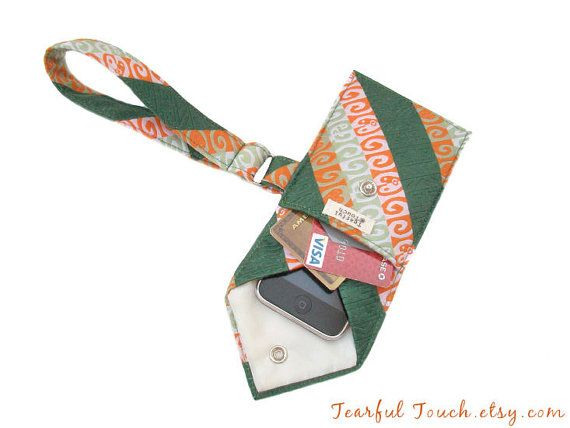 Recycled Vintage Necktie Wristlet Green Tangerine by TearfulTouch, $20.00