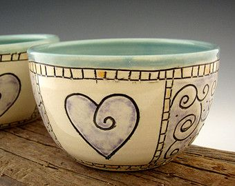Pottery Bowl in Turquoise with Purple Heart Design - Dessert Bowl - by DirtKicker Pottery