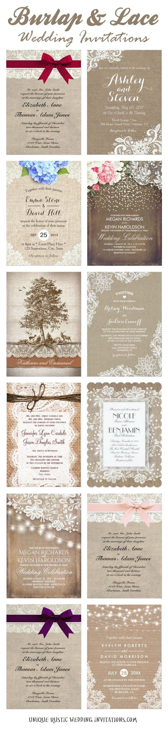 sunflower wedding invitations printable%0A Burlap and Lace Wedding Invitations  rusticwedding  rusticweddinginvitations