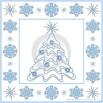 White Christmas tree with blue snowflakes border.
