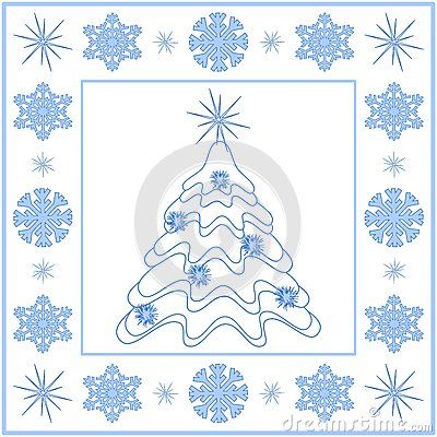 White Christmas tree with blue snowflakes border.