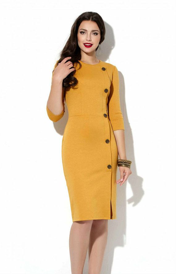 Mustard Office dress Autumn Spring Jersey dress Business woman clothes Casual clothing for women - en kjole i den her carve go længde ville ikke være dumb