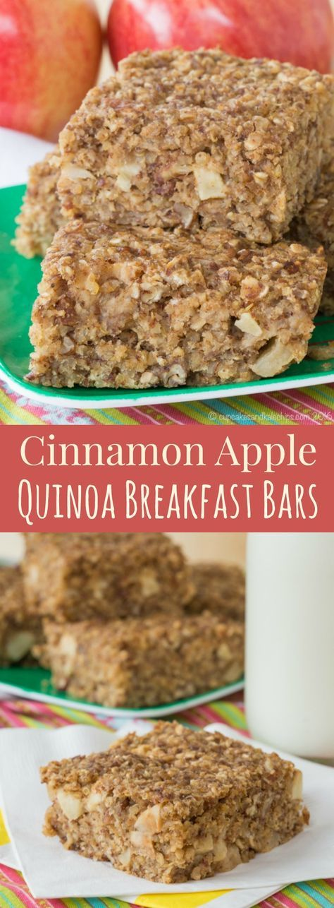 Cinnamon Apple Quinoa Breakfast Bars - an easy make-ahead recipe for busy mornings. Packed with whole grains and protein from #AllWhitesEggWhites from @AllWhitesEggs. Gluten free and dairy free. #ad | cupcakesandkalechips.com