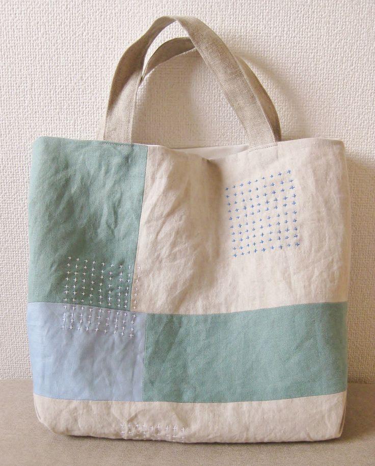 トートバッグ light blue & green | HandMade in Japan 手仕事の新しいマーケットプレイス iichi