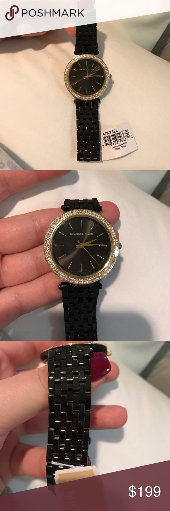 NWT Michael Kors Black crystal watch Brand new, never used or worn except to take these pics. Plastic is still on the face and chain closure. I got rid of box, extra links and book. This was purchased at an actual Michael Kors store location approx 2 years ago. Price FIRM unless bundled Michael Kors Accessories Watches