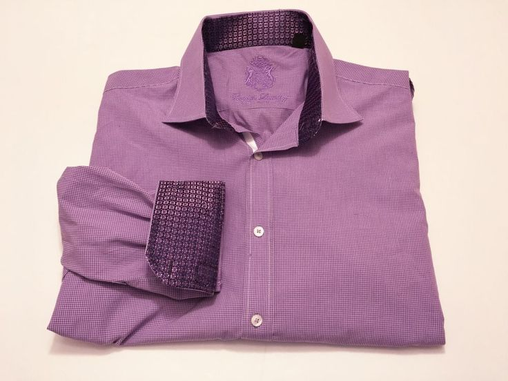 English Laundry 16.5 Flip Cuff Long Sleeve Purple Dress Shirt 34/35 #EnglishLaundry