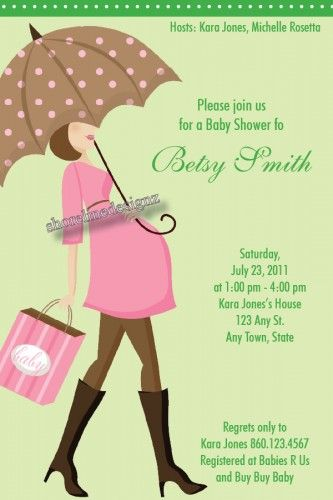 Baby bump pink and brown invitation