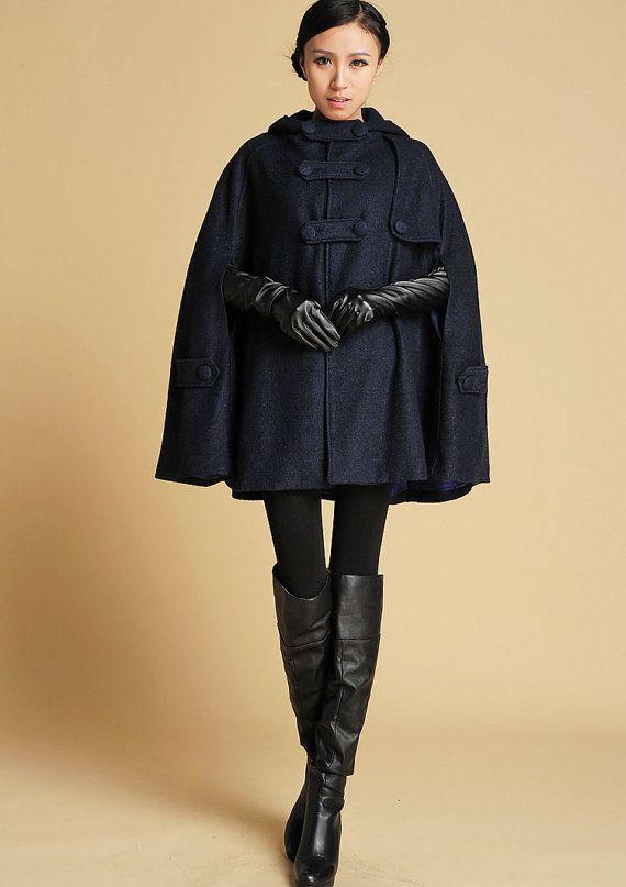 Cape jas blauwe wollen jas marineblauw Cape wol jas