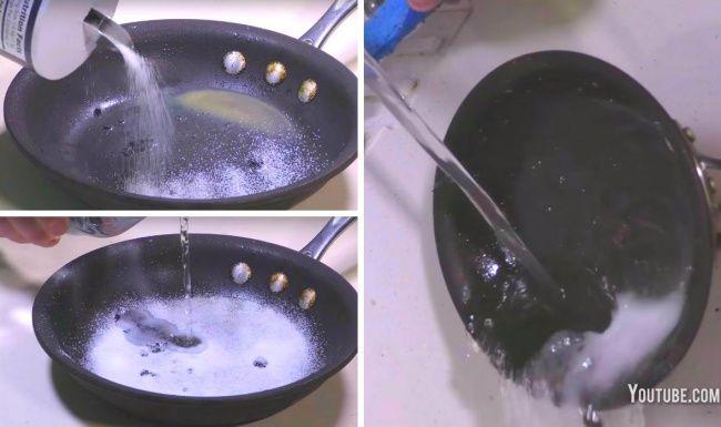 Deshazte de grasa y trozos de comida quemados Para deshacerte de los trozos de comida y la grasa pegada puedes usar sal. Cubre la superficie de la sartén con sal, agrega un poco de agua. Deja reposar durante 10 minutos y listo.