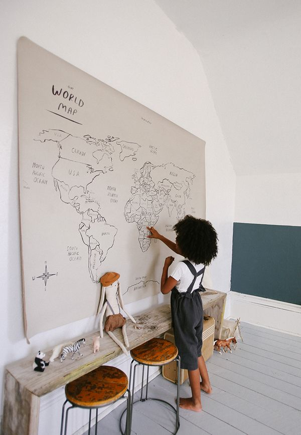 HAND ILLUSTRATED PRINT 'OUR WORLD' MAT / WALL …