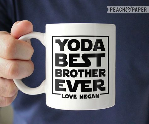 Personalized Brother Gift For Brother From Sister Best Brother Mug For Brother Coffee Mug Brother Christmas Gift For Brother Birthday Gift by PeachandPaper on Etsy https://www.etsy.com/listing/480240977/personalized-brother-gift-for-brother