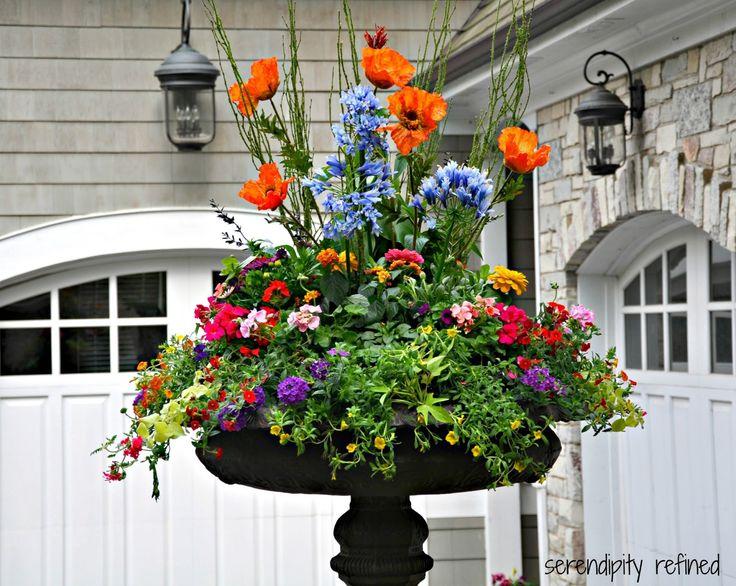 Spring Urn Planter Flower Arrangement With Forsythia