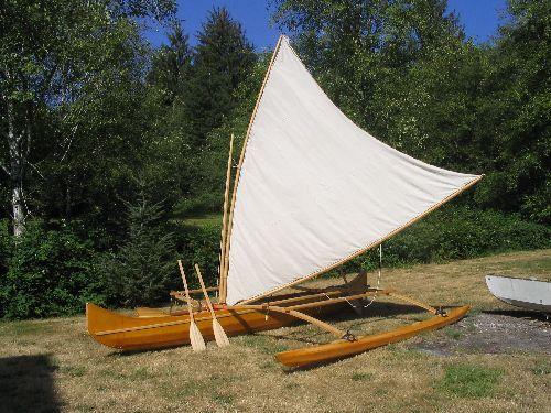 Skin on frame tacking outrigger canoe.