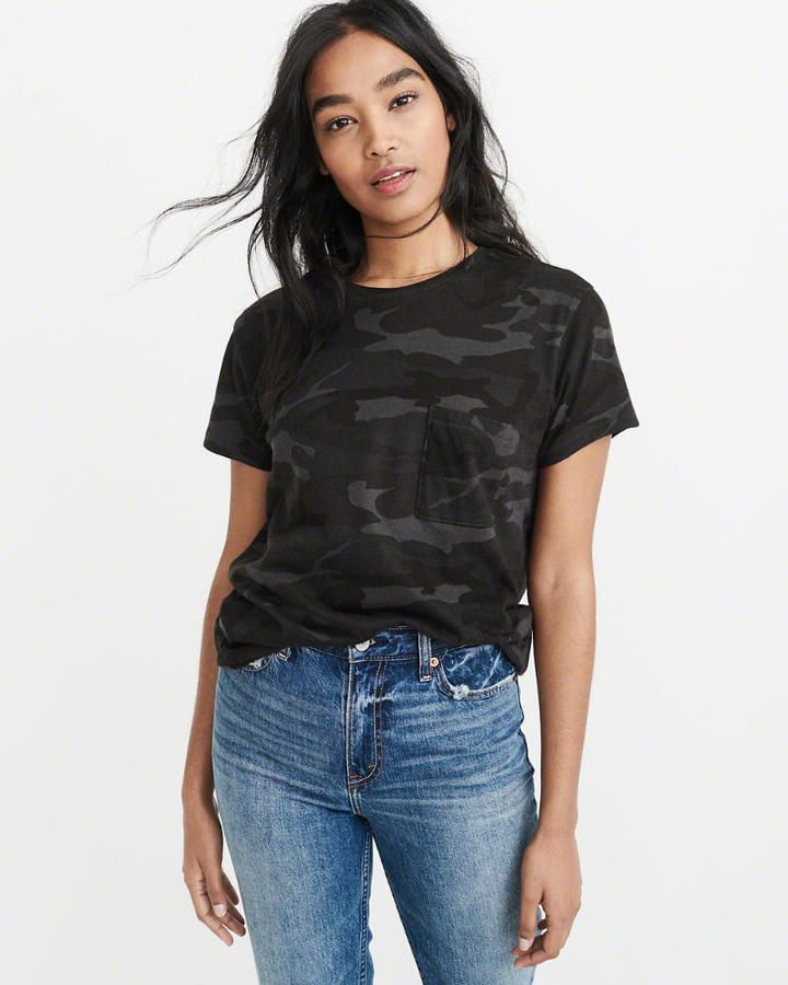 Abercrombie & Fitch The A&F Camo Boyfriend Tee