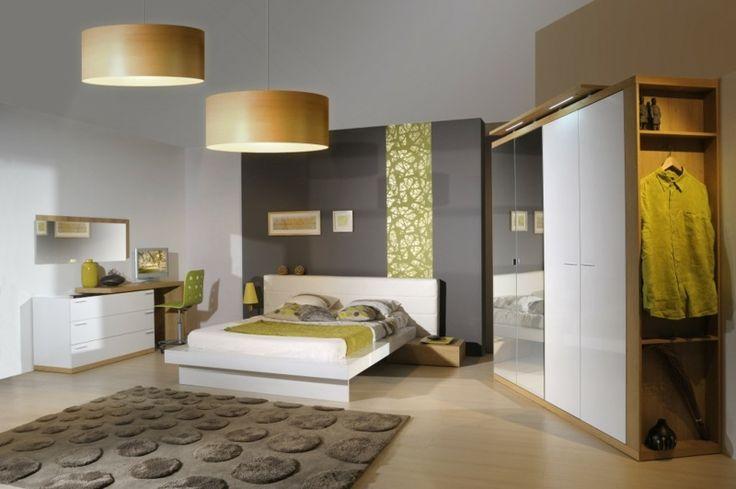 Schlafzimmer Dekorationen In Der Modernen Einrichtung: Beleuchtung Durch Große Lampenschirme