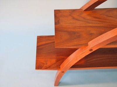 Bookshelves in American black walnut, showing the beautiful wood grain