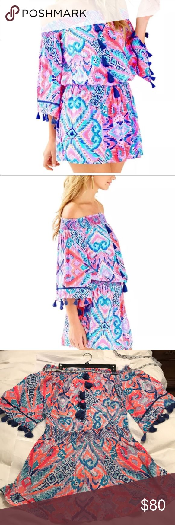 Lilly Pulitzer Joelle dress in Solar Opposite PRICE FIRM!  NWT gorgeous blue tassels. This off-shoulder style actually stays put on your shoulders and doesn't ride up when you lift your arms! Lilly Pulitzer Dresses Mini