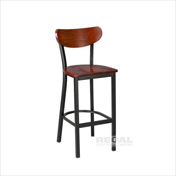 Regal Seating Model 2511W Commercial Metal Steakhouse Barstool With Solid  Wood Seat   Bar U0026 Restaurant