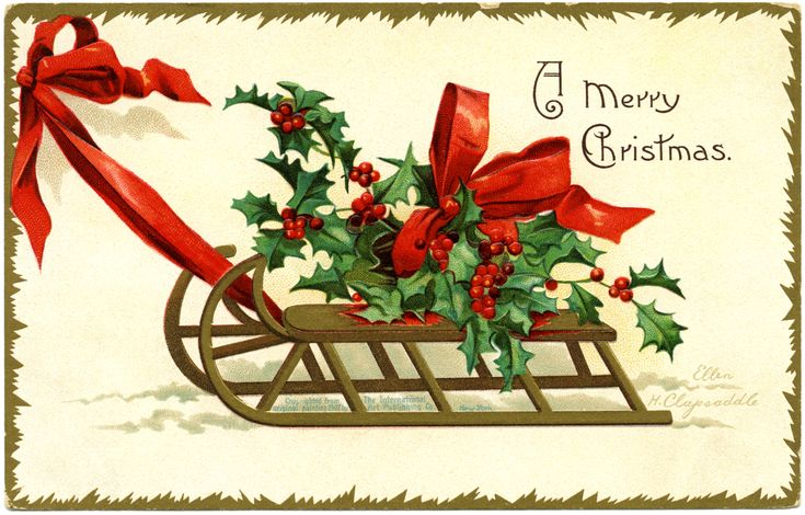OldDesignShop - Free digital Image - A Merry Christmas Clapsaddle Postcard