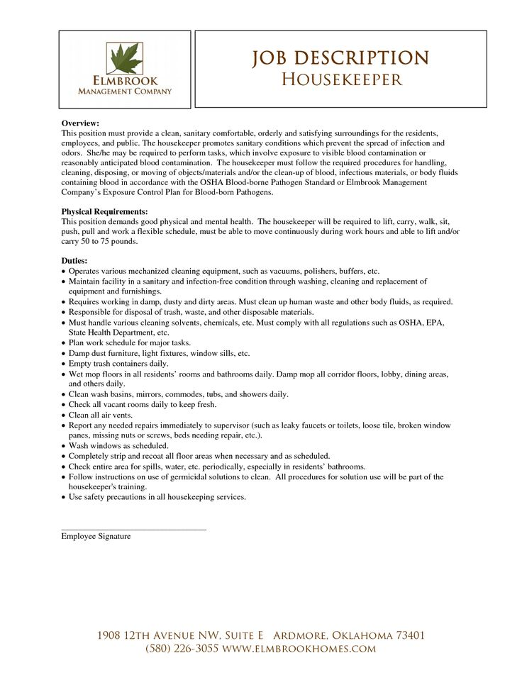 Más de 25 ideas increíbles sobre Hotel cleaning jobs en Pinterest - house cleaner resume