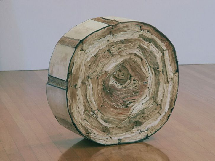 Jacqueline Rush Lee, United States, Inside Out (from Volumes Series, 2001, Soaked, dried, scraped book components, (knižné objekty)