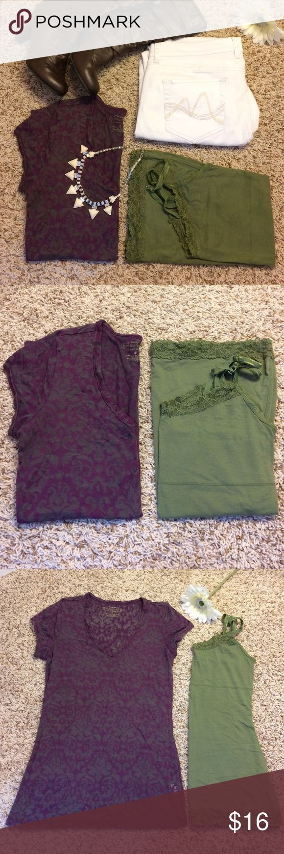 MAURICES Burnout Tee & Lace Tank EUC!! Little pilling under arms of tee, otherwise both are in excellent shape! Purple burnout tee looks awesome with the green tank underneath.❤️ Both size M, TTS. Maurices Tops
