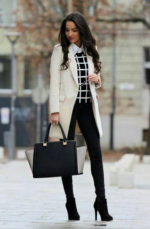 Black and white windowpane sweater, long khaki coat, black heeled booties