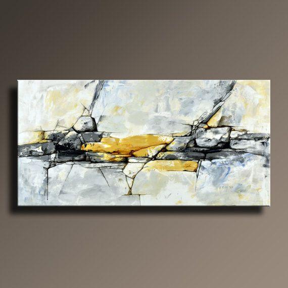 URSPRÜNGLICHEN abstrakten Malerei schwarz weiß gelb grau blau