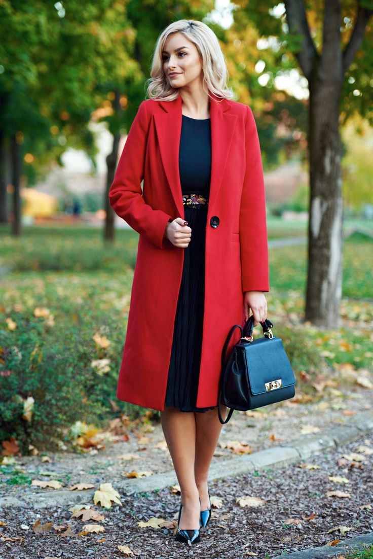 Casual straight LaDonna red coat with pockets, with pockets, inside lining, women`s coat, non elastic fabric
