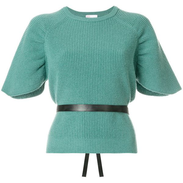 Red Valentino short sleeve knit top with belt ($520) ❤ liked on Polyvore featuring tops, green, red valentino, knit top, short sleeve tops, green top and short sleeve knit tops