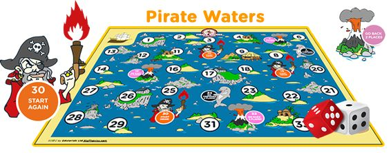 Free pirate board game - PDF.  Love how this game can be adapted to teach so many different skills!  My kidlets are going to make their own question cards based on the maths strategies we've been working on.