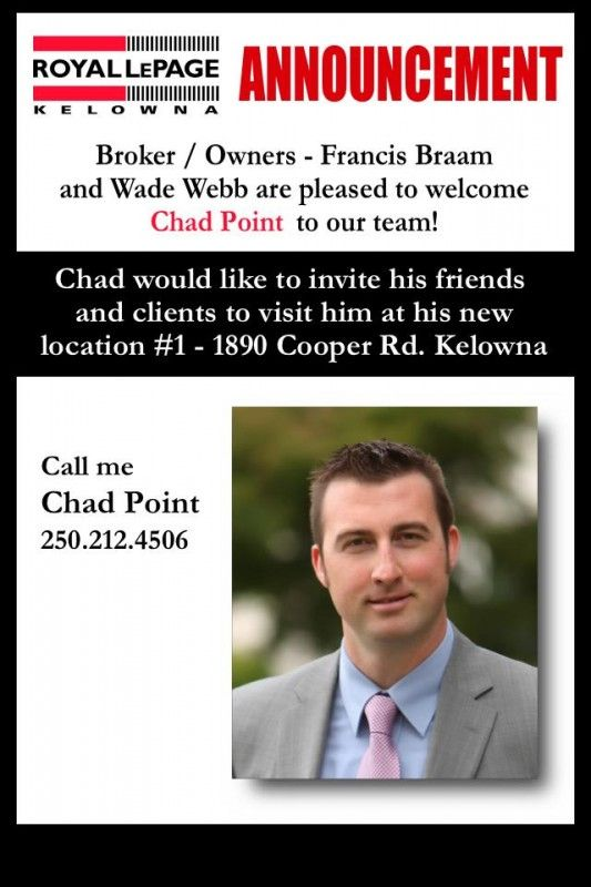 Welcome to the team Chad   Royal LePage Kelowna Real Estate