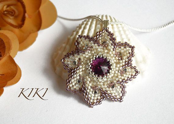 Pendant peyote beaded pendant with bezeled by KikisBeadArt on Etsy