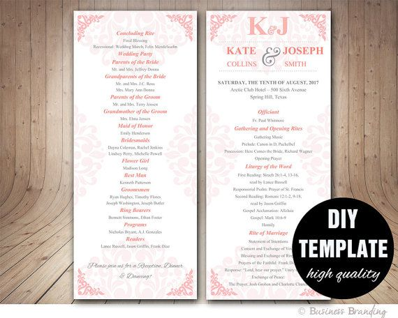 pink and grey wedding program template instant download microsoft