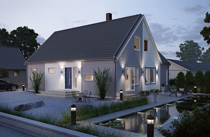 Villa Orrefors är ett stort vinkelhus med attityd. Kort takfot och annorlunda plåtdetaljer ger huset ett tufft formspråk exteriört, och rejäla ytor inomhus gör det enkelt att inreda precis som ni vill. Öppen planlösning mellan kök, allrum och vardagsrum, samt sovrum, badrum och klädvårdsutrymme i en egen del av vinkelhuset. Med inredd övervåning kan huset bli 195m2 och 10 rum stort. #smålandsvillan #villaorrefors #hus #bygganytt #nybyggnation #inspiration #hustillverkare
