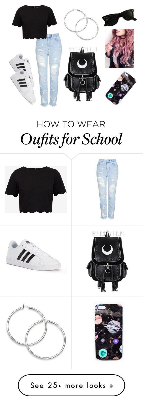 """""""Untitled #112"""" by hypegirl101 on Polyvore featuring adidas, Topshop, Ted Baker, Ray-Ban and Nikki Strange"""