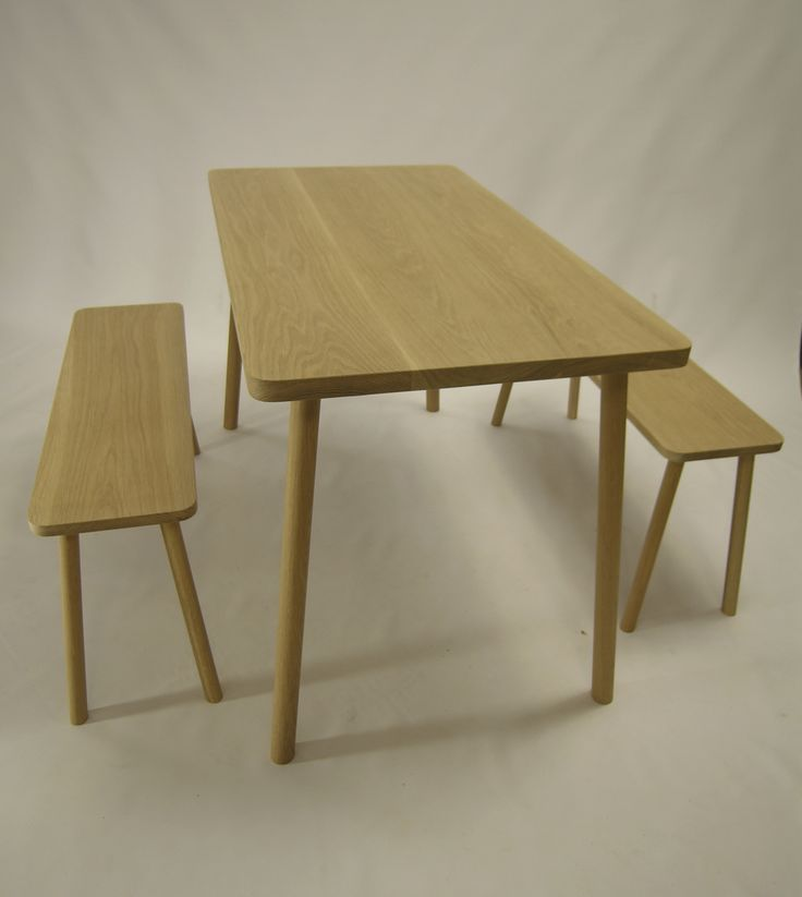 american oak dining table with mathching benches,beautiful simple table,benches easily slide under,perfect for apatment living. handmade by chris colwell design