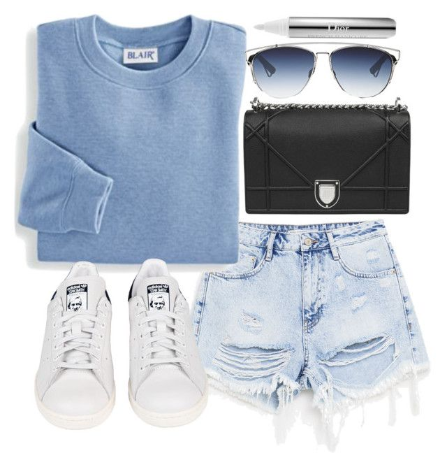 """""""Untitled #20166"""" by florencia95 ❤ liked on Polyvore featuring Blair, Christian Dior and adidas"""